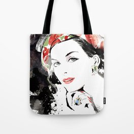 Classical Beauty, Fashion Painting, Fashion IIlustration, Vogue Portrait, Black and White, #12 Tote Bag