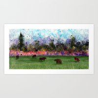 chicago bulls Art Prints featuring Chicago Skyline and Bulls In Pasture by Jen Hynds
