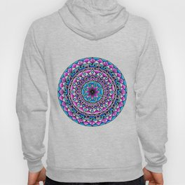 Mandala #2 Wall Tapestry Throw Pillow Duvet Cover Bright Vivid Blue Turquoise Pink Contempora Modern Hoody