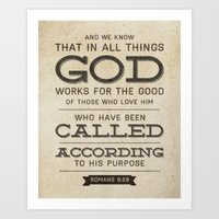bible verse Art Prints featuring Romans 8:28 Bible Verse by Tony D'Amico
