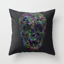 Skull Low-Poly Color Throw Pillow