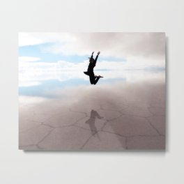 Abstract Beach | Jump for Joy Dramatic Happy Sunset Bright Mood Salt Flats Metal Print