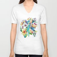 parrot V-neck T-shirts featuring PARROT by RIZA PEKER