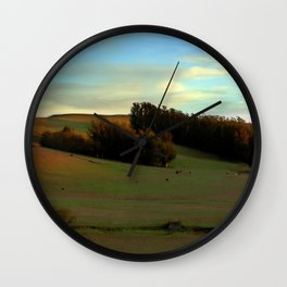 Last Moments of Sunset Glow, Sonoma County Hills Wall Clock