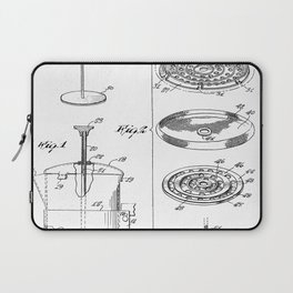 Coffee Filter Patent - Coffee Shop Art - Black And White Laptop Sleeve