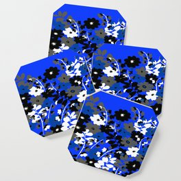 SUNFLOWER TRELLIS BLUE BLACK GRAY AND WHITE TOILE Coaster