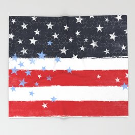 Patriotic Grunge Stars and Stripes Throw Blanket