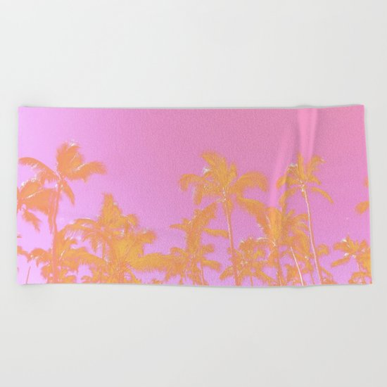 Pink Pastel palms Beach Towel