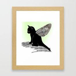Black Kitten Fairy Framed Art Print