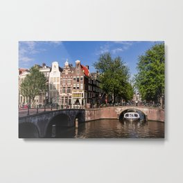 Amsterdam old town with typical canal Metal Print