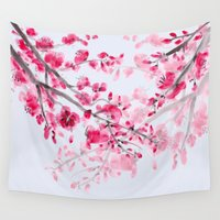 cherry blossoms Wall Tapestries featuring Cherry Blossoms  by Catherine Holcombe