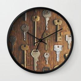 Keys on wood Wall Clock