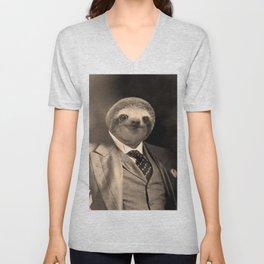 Gentleman Sloth with Monocle Unisex V-Neck