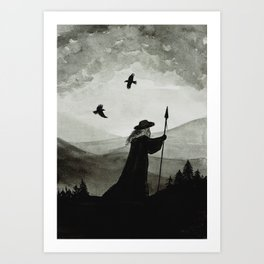 Odin, Huginn and Muninn. Art Print