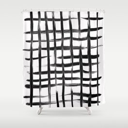 Natural Grid Shower Curtain