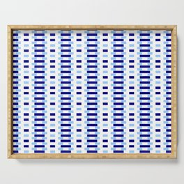 optical pattern 34 blue Serving Tray