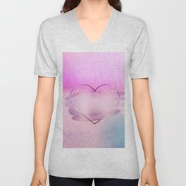 Rainbow Watercolor Heart Unisex V-Neck