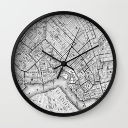 Vintage Map of Brookyln (1868) BW Wall Clock