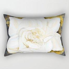 Aged Art Deco Gardenia Floral Art Rectangular Pillow