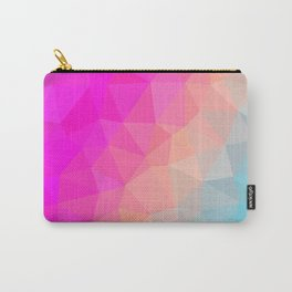 Dark Pink, Peach and Cyan Geometric Abstract Triangle Pattern Design  Carry-All Pouch