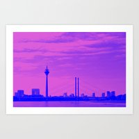 cityscape Art Prints featuring Cityscape by DuniStudioDesign