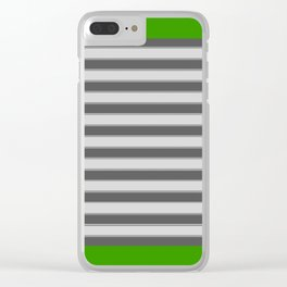 Green Black White Stripes Clear iPhone Case