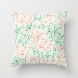 Pastel green coral hand painted watercolor elegant floral Throw Pillow