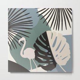 Minimal Flamingo Monstera Fan Palm Finesse #1 #tropical #decor #art #society6 Metal Print
