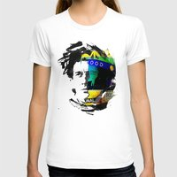 senna T-shirts featuring Ayrton Senna do Brasil - White & Color Series #4 by Universo do Sofa - Artes & Etecetera