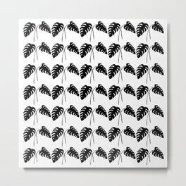 Tropical Monstera Leaves Black on White Metal Print