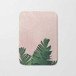 Banana Leaves on Pink Bath Mat