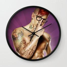 Red Hair tattuated guy Wall Clock