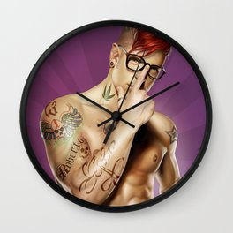 Red Hair tattuated guy Wall Clock