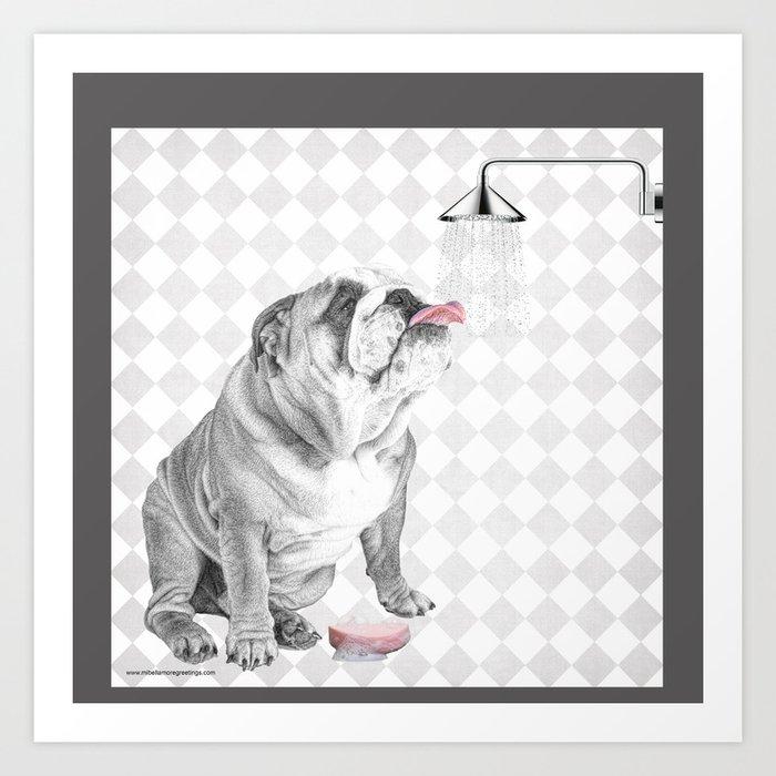 Bulldog taking a shower Kunstdrucke