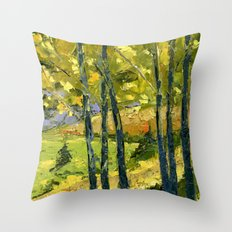 Backlit Aspens Throw Pillow