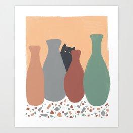 Hidden Cat 5 plant pot Art Print