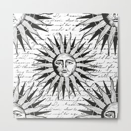 Vintage Sun Face Black And White Metal Print