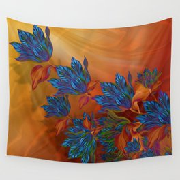 """Blue flowers on orange silk"" (Air Spring at night) Wall Tapestry"