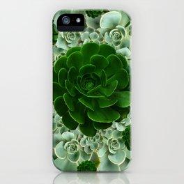 JADE & DARK GREEN SUCCULENT ROSETTES GARDEN iPhone Case
