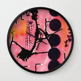 Mixed media (watercolor,acrylic,spray paint) abstract artwork - pinks and blacks - 'Vegas sunset' Wall Clock