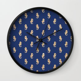 Elegant navy blue faux gold glitter nautical seahorse pattern Wall Clock