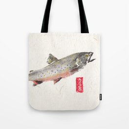 Brook Trout in Spawning colors-Gyotaku Tote Bag