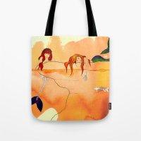 mermaids Tote Bags featuring Mermaids by Leah Gonzales