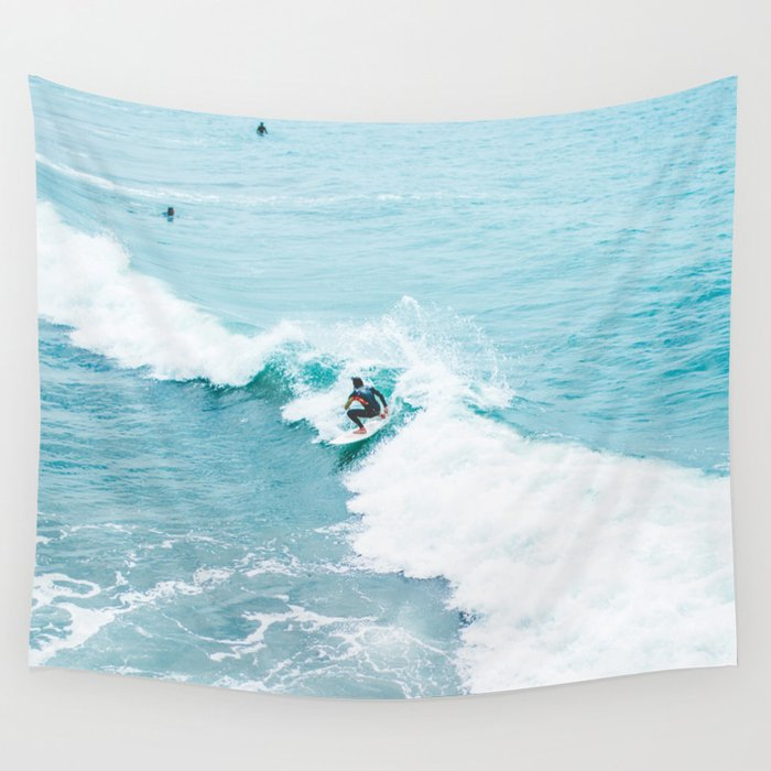 Wave Surfer Turquoise Wall Tapestry