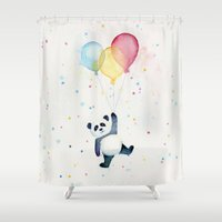 panda Shower Curtains featuring Panda Floating with Balloons by Olechka