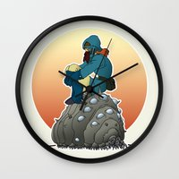 nausicaa Wall Clocks featuring Nausicaa & baby Ohmu taking a break... by kamonkey