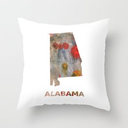 Alabama map outline Rosy brown clouded wash drawing painting Throw Pillow