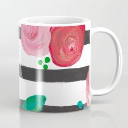 Black Stripes & Blooms Coffee Mug