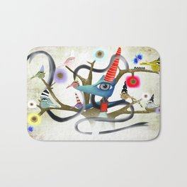 Delicious friendship birds and fox Bath Mat