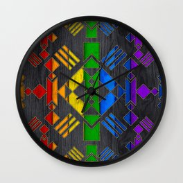 Colorful Geometric Wooden texture pattern Wall Clock